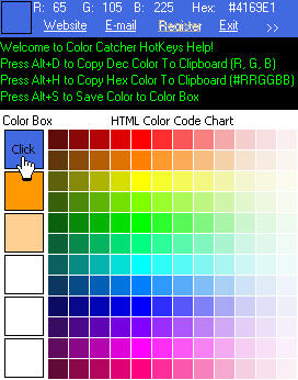 Color Catcher ScreenShot With HTML Color Code Chart